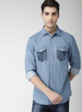 Buy Celio Blue Regular Fit Faded Casual Shirt for Rs. 689