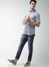 Buy Celio White & Navy Blue Slim Fit Checked Casual Shirt for Rs. 734
