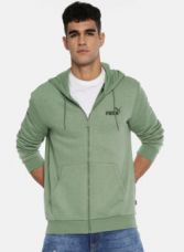 Buy Puma Puma Men Green Elevated ESS FZ FL Solid Hooded Sweatshirt for Rs. 1679