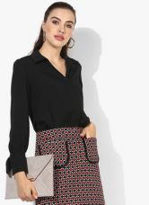 Flat 55% off on Dorothy Perkins Black Solid Shirt