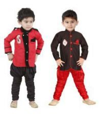 Flat 56% off on STYLOKIDS FESTIVE AND PARTY BOYS RED AND BLACK KURTA PAYJAMA