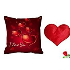 MeSleep Love You Abstract Satin Cushion with Filler and Free Heart Shaped Filled Cushion, Artificial Rose - 20