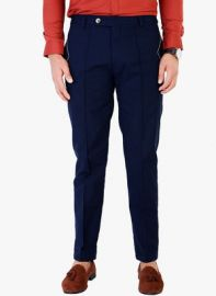 Flat 40% off on Mr Button Solid Blue Trousers