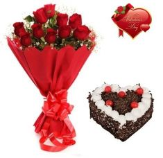 Floral Fantasy Valentines Day Gift Of Fresh Flower Bouquet (Bunch Of 12 Red Roses) And Cake for Rs. 1,699