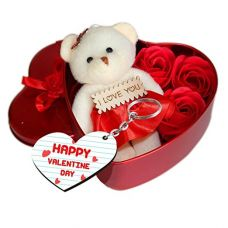 Sky Trends Teddy Bear with Valentine'S Special Greeting Card (Red, St-0015) for Rs. 399