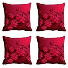 Buy meSleep Floral 4 Piece Satin Cushion Cover Set - 16