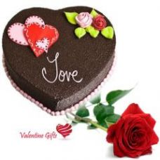 Buy Valentine Gifts - Single Rose With Cake from Rediff