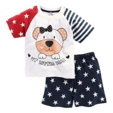 Cute Teddy Print T-Shirt And Shorts Set for Rs. 499
