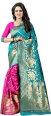 Flat 62% off on The Fashion Outlets Self Design, Plain Banarasi Cotton, Silk Saree  (Pink)