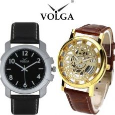Buy Volga Open Mechanical Fancy Look New Latest Collection Young Boys Lather Designer belt With Best Offers Super35 Watch  - For Men for Rs. 502
