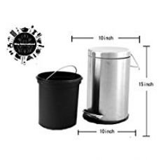 Buy King International Stainless Steel Dustbin, 11 L, Multicolour from Amazon