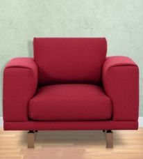 Get 64% off on Catalunya One Seater Sofa in Carmine Colour