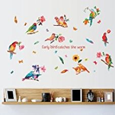 Buy Oren Empower Multicolor Parrots Wall Stickers (Finished Size on Wall - 130(h) x 83(w) cm) from Amazon