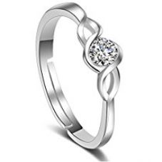 Karatcart Platinum Plated Elegant Classic Crystal Adjustable Ring for Women for Rs. 239