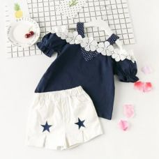 Buy Cute Navy Cold Shoulder Top And Short Set from Hopscotch