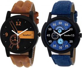 Buy Keepkart New Stylish Leather Strap 001 002 Watch  - For Men for Rs. 249
