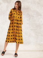 Anouk Women Mustard Yellow & Black Printed A-line Fusion Kurta for Rs. 839