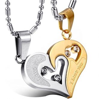 Yutii Our Heart Two Piece 316 Stainless Steel Couple Pendant Necklace Set For Men & Women for Rs. 599