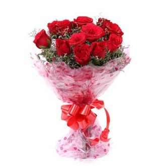 Floralbay Red Roses Bouquet Fresh Flowers In Cellophane Wrapping (Bunch Of 8) for Rs. 235