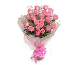 Floralbay Pink Roses Bouquet Fresh Flowers in Cellophane Wrapping (Bunch of 15) for Rs. 593