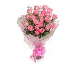 Buy Floralbay Pink Roses Bouquet Fresh Flowers in Cellophane Wrapping (Bunch of 15) from Amazon