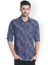 Buy Campus Sutra Men Blue Standard Regular Fit Self Design Casual Shirt for Rs. 559