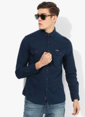 U.S. Polo Assn. Navy Blue Solid Slim Fit Denim Shirt for Rs. 1150