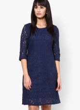 Mayra Navy Blue Colored Embroidered Shift Dress for Rs. 499