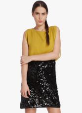 Buy Vero Moda Mustard Yellow Colored Embellished Shift Dress for Rs. 1348