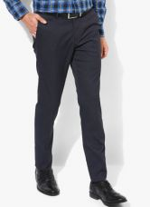 Buy U.S. Polo Assn. Navy Blue Textured Slim Fit Formal Trouser from Jabong