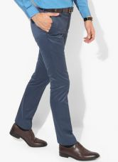Buy U.S. Polo Assn. Blue Solid Slim Fit Formal Trouser for Rs. 1200