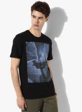 Buy United Colors of Benetton Black Printed Slim Fit Round Neck T-Shirt from Jabong