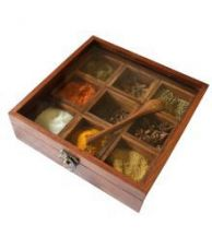 Buy Skywoods Wooden Spice Box With 9 Container and 1 Spoon from SnapDeal