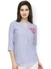 Buy Striped Shirt Style Top from Myntra
