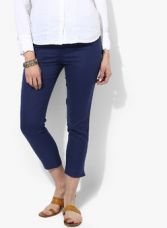 Buy W Blue Solid Regular Fit Coloured Pants from Jabong