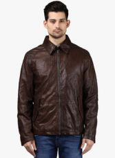 Buy Park Avenue Brown Solid Leather Jacket from Jabong