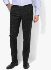 Get 50% off on Park Avenue Charcoal Grey Printed Slim Fit Formal Trouser
