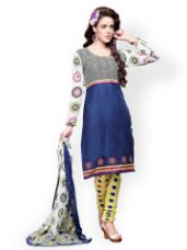 Buy Florence Blue & Yellow Cotton Unstitched Dress Material for Rs. 417