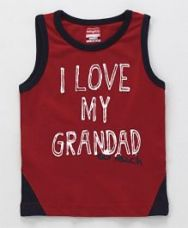 Buy Babyhug Sleeveless T-Shirt Text Print - Red for Rs. 149