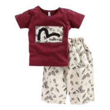 Buy Thunderbolt - Half Sleeves T-Shirt with Printed Shorts from Hopscotch