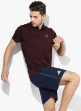 Flat 45% off on U.S. Polo Assn. Wine Textured Regular Fit Polo T-Shirt