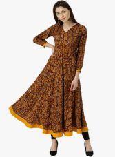 Flat 60% off on Libas Multicoloured Printed Anarkali