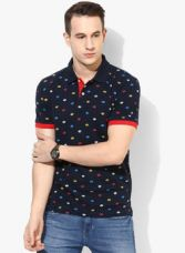 Buy Arrow Sports Navy Blue Printed Polo T-Shirt for Rs. 850