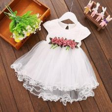 Buy White Floral Applique Cap Sleeve Dress from Hopscotch
