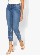 Dorothy Perkins Blue Embellished Mid Rise Skinny Fit Jeans for Rs. 1976