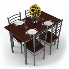 Buy Forzza Leo Four Seater Dining Table Set (Dark Walnut) from Amazon