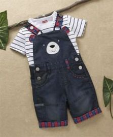 Babyhug Denim Dungaree With Striped T-Shirt - Black White for Rs. 299