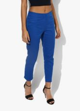 Buy Aurelia Blue Solid Skinny Fit Coloured Pant for Rs. 320