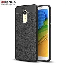 Buy WOW Imagine Premium Leather Finish Textured Flexible Shockproof Protection Grip Back Cover for Xiaomi Mi Redmi 5, March 2018 Launch (Pitch Black) from Amazon