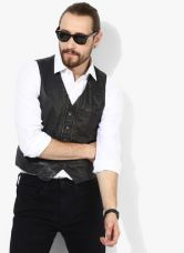 Buy Jack & Jones Black Solid Slim Fit Waistcoat for Rs. 1998
